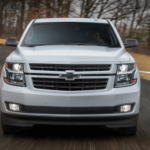 2020 Chevy Tahoe grille view on highway