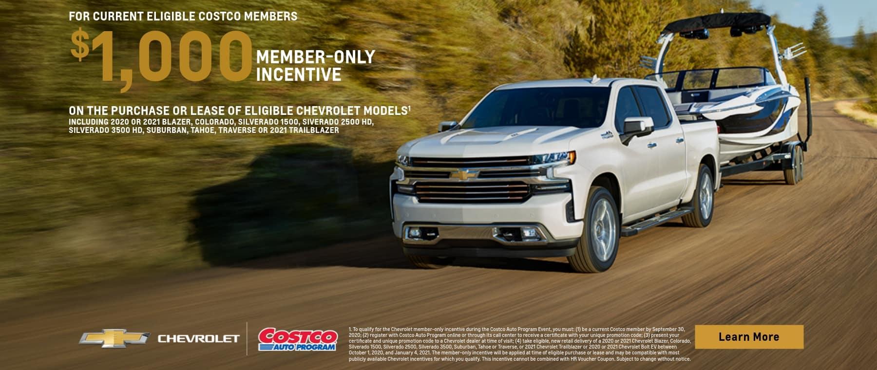 $1,000 Member Only Offer on Select Chevrolet Models