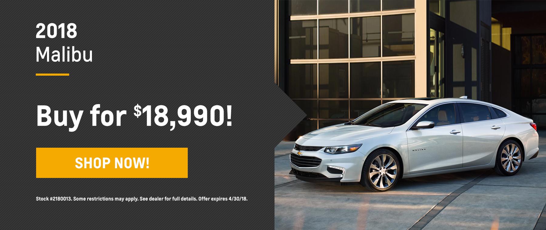 Malibu Biggers Chevrolet April Offer Homepage