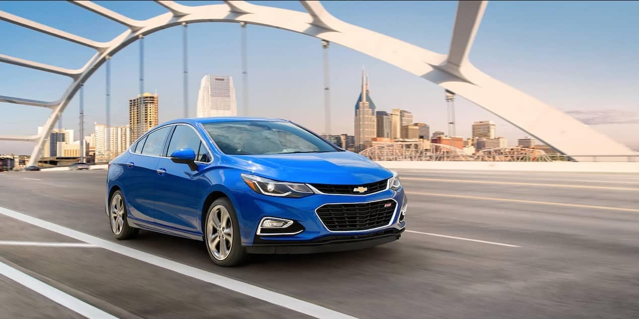 2018 chevrolet cruze sedan on expressway near downtown