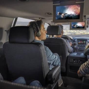 interior cabin of 2019 Chevrolet Tahoe with rear entertainment