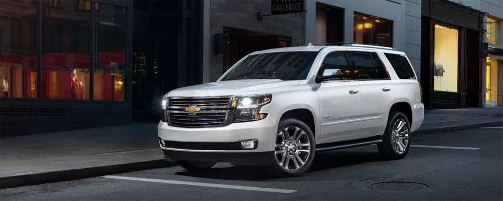 2020 Chevy Tahoe on a downtown street