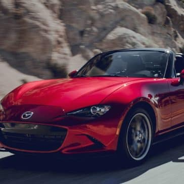 2019 Mazda MX-5 Miata driving on a mountain road