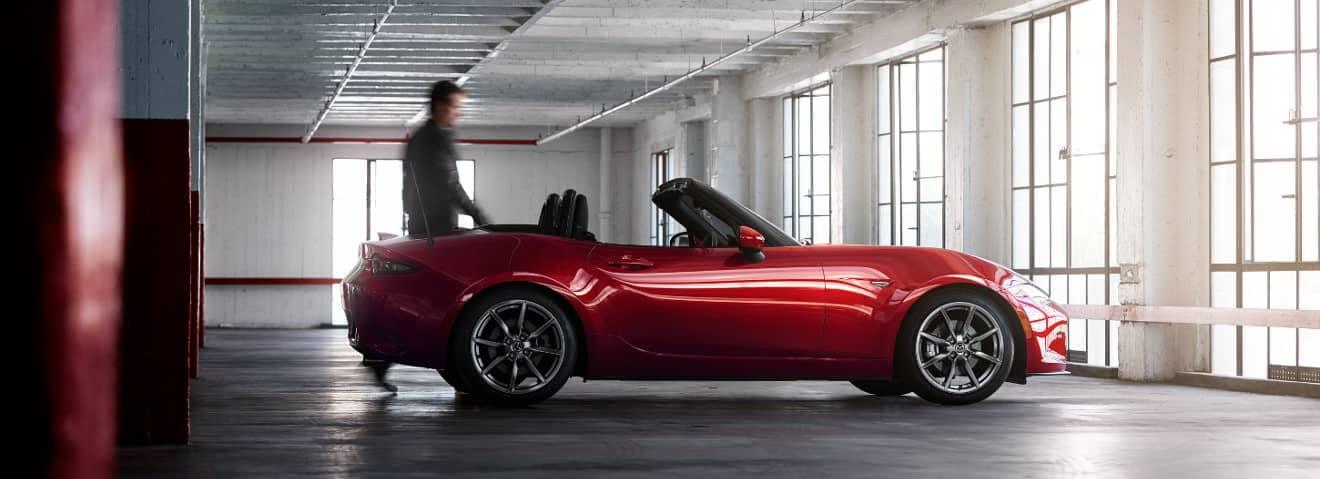 2018 Mazda MX-5 Miata parked in garage