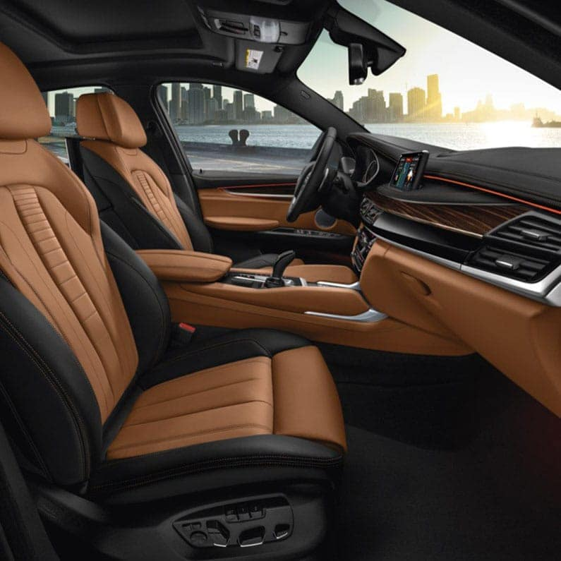 2019 BMW XSeries X6 Orange and Black Leather Interior with City Skyline in the Background