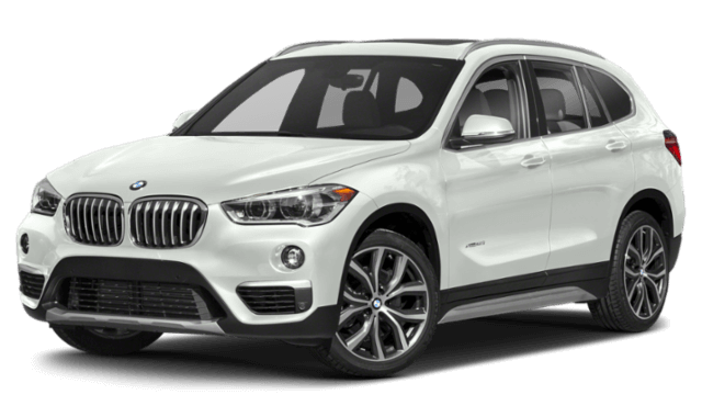 white 2019 BMW X1 SUV viewed from front