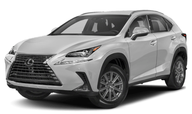 silver grey Lexus NX SUV from front