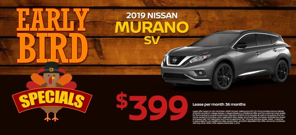 2019 Nissan Murano SV Lease for $399/mo. for 36/mos.