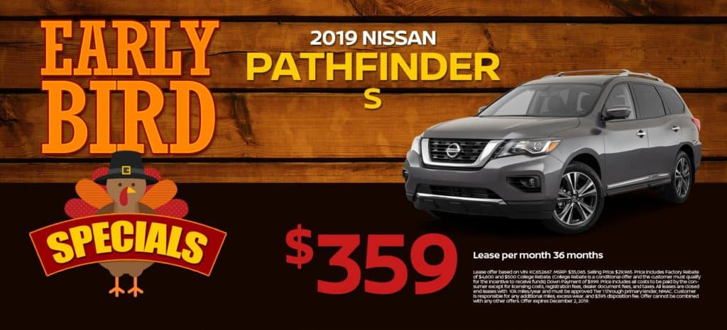 2019 Nissan Pathfinder S Lease for $359/mo. for 36/mos.