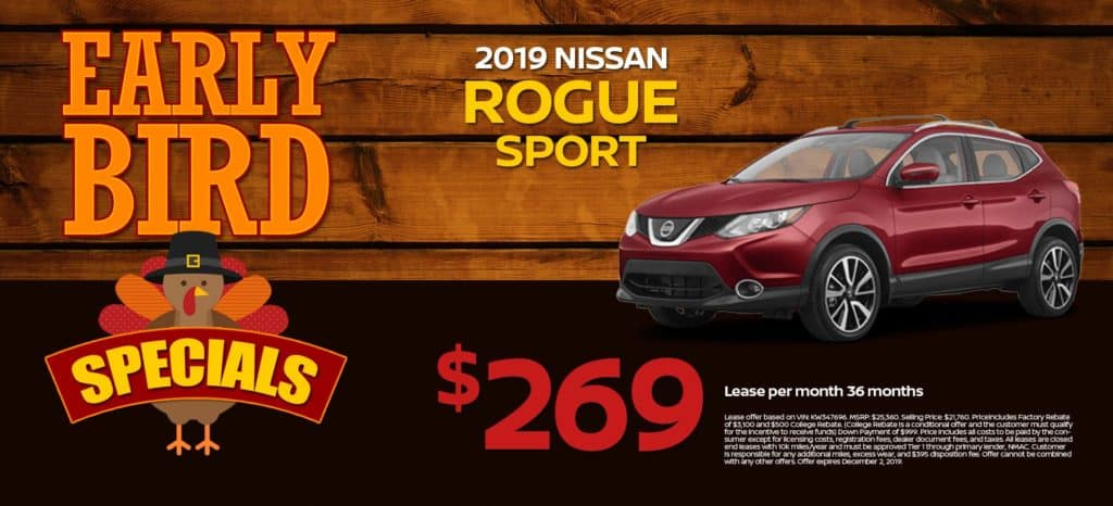 2019 Nissan Rogue Sport S Lease for $269/mo. for 36/mos.