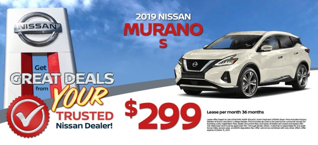 2019 Nissan Murano S Lease for $299/mo. for 36/mos.