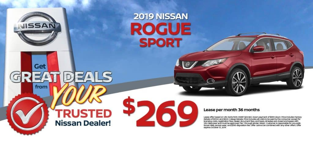 2019 Nissan Rogue Sport Lease for $269/mo. for 36/mos.