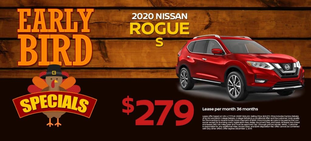 2020 Nissan Rogue S Lease for $279/mo. for 36/mos