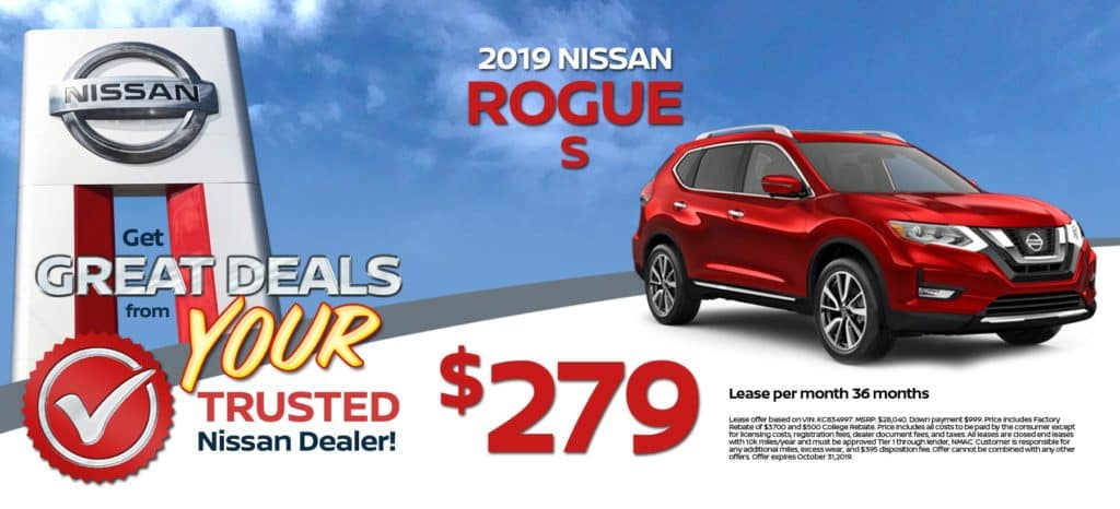 2019 Nissan Rogue S Lease for $279/mo. for 36/mos
