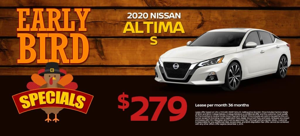 2020 Nissan Altima S Lease for $279/mo. for 36 mos.