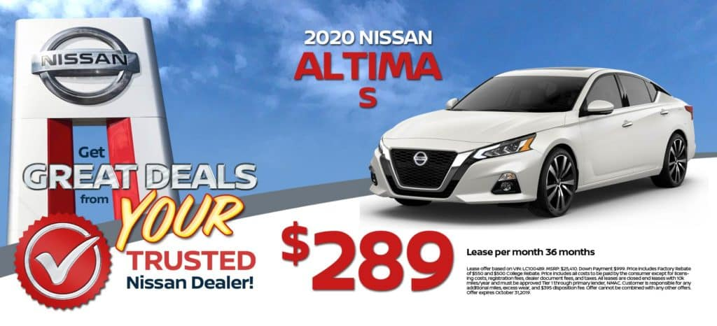 2020 Nissan Altima S Lease for $289/mo. for 36 mos.