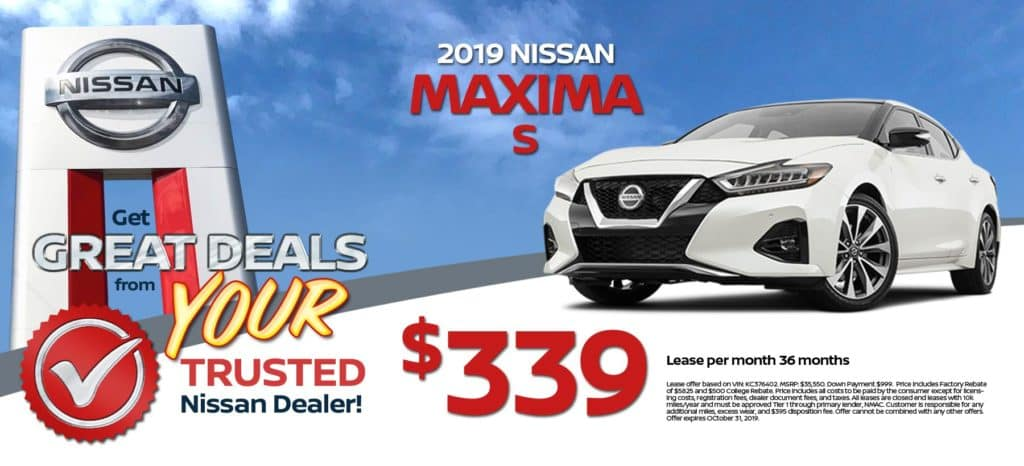 2019 Nissan Maxima S Lease for $339/mo. for 36 mos.