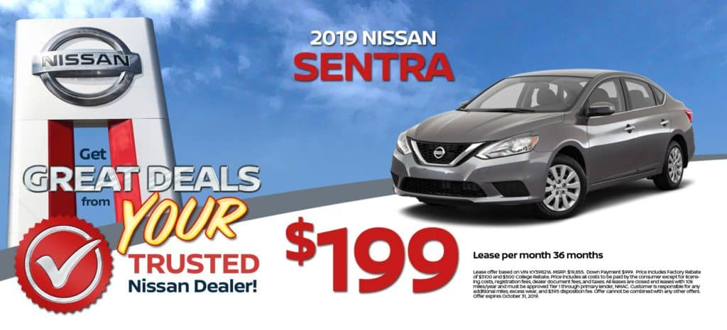 2019 Nissan Sentra Lease for $199/mo. for 36 mos.