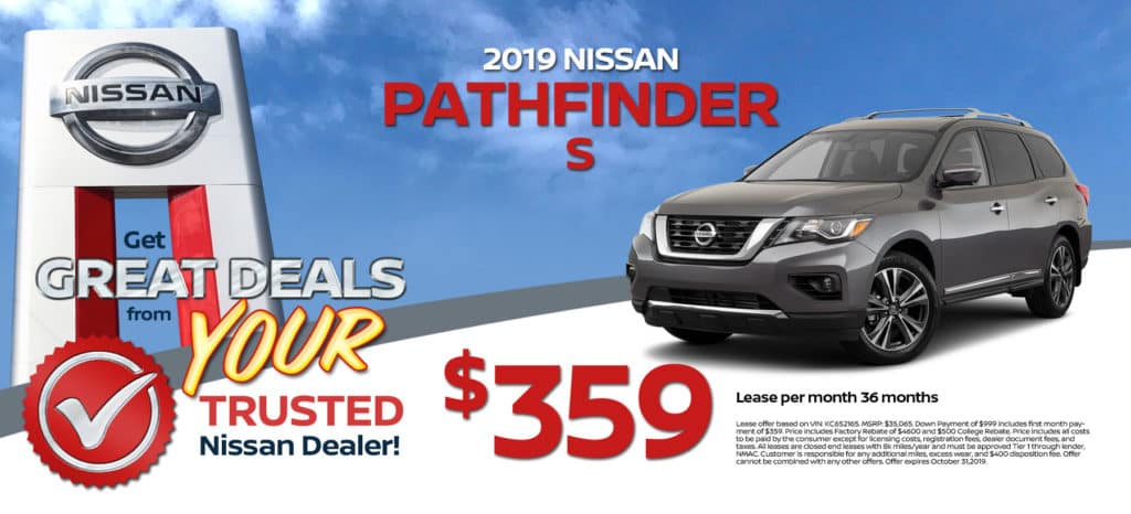 2019 Nissan Pathfinder SV Lease for $379/mth for 36 months