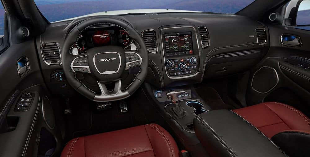 2019 Dodge Durango SRT interior with leather seats and steering wheel