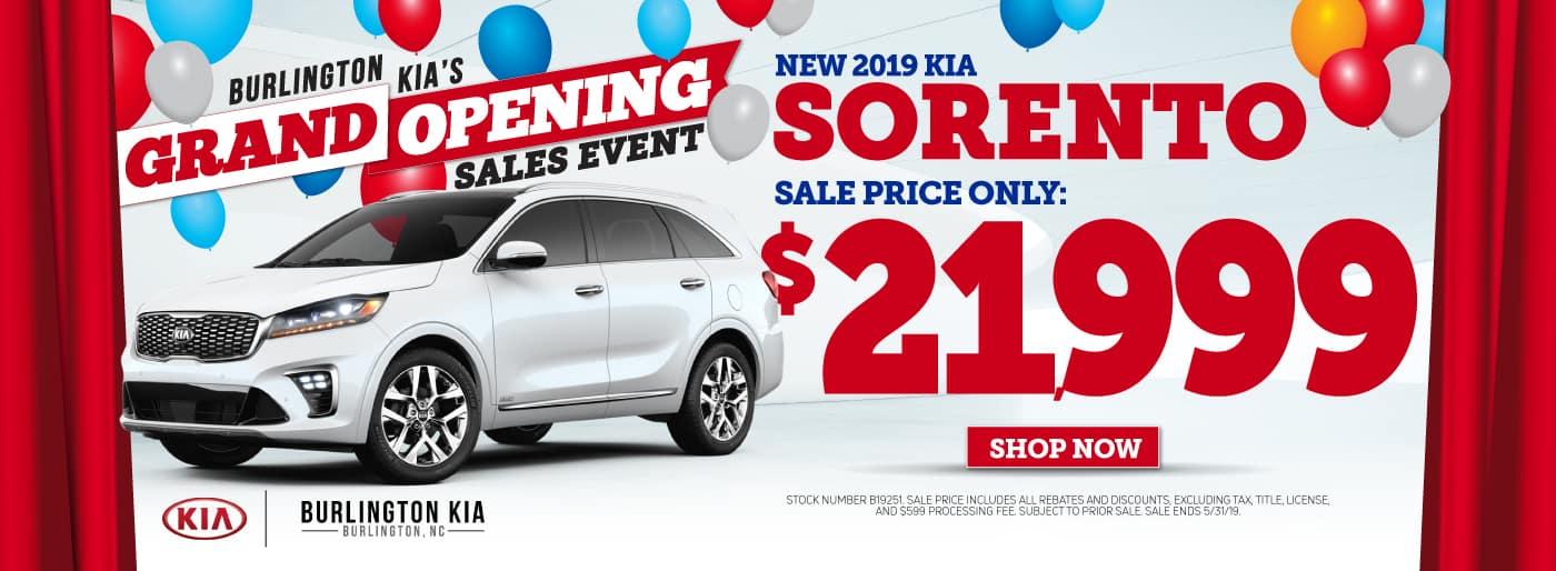 2019 KIA Sorento Lease and Specials in Burlington North Carolina
