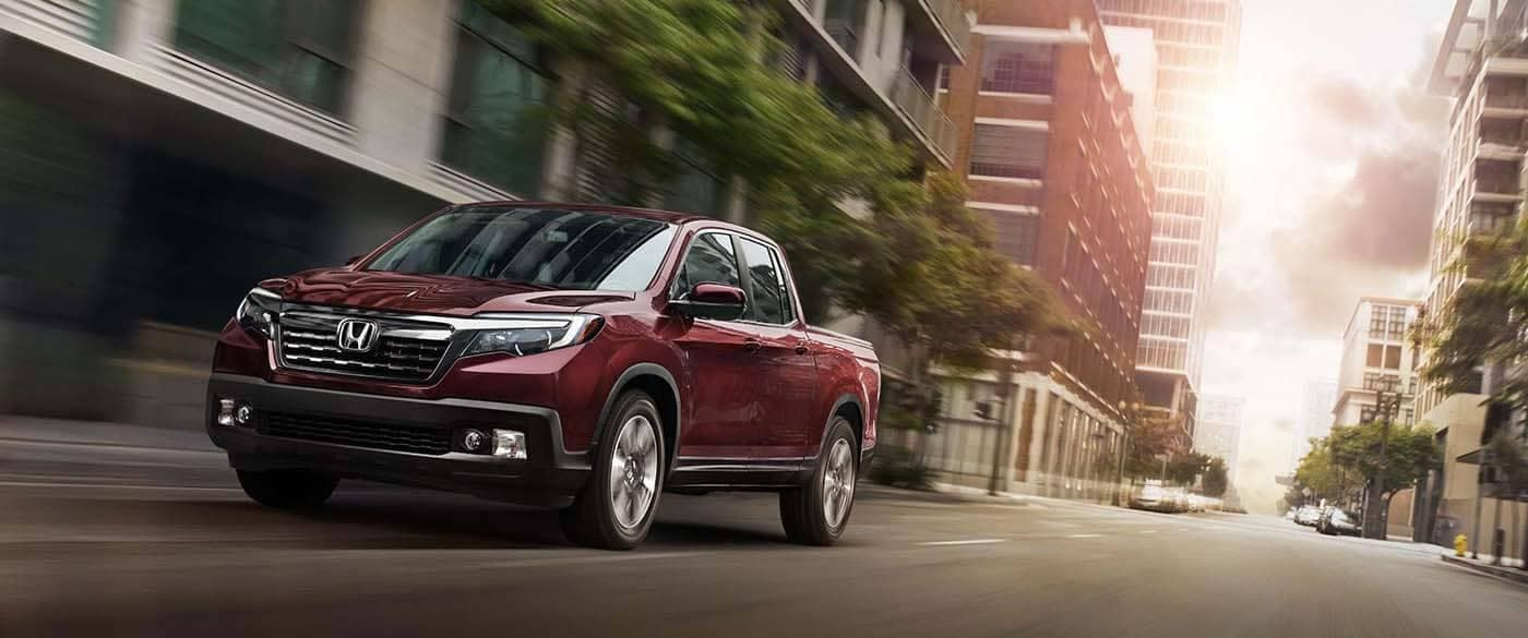 2019 Honda Ridgeline driving through the city
