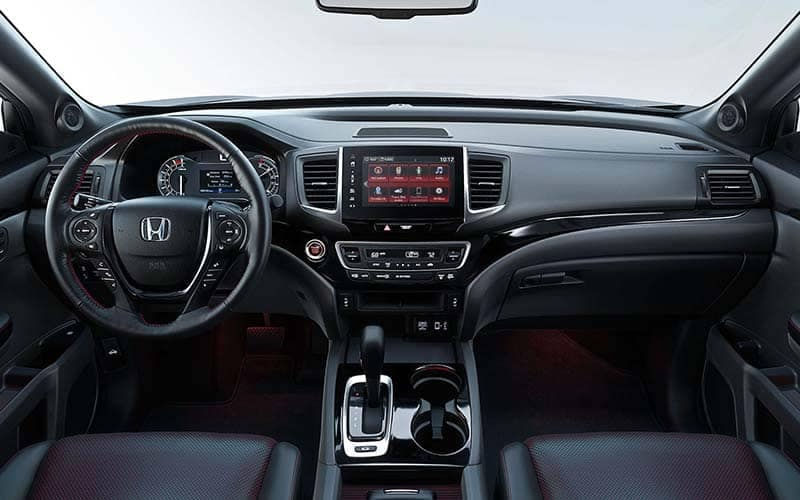 2019 Honda Ridgeline Black Edition Interior Front Seating and Dashboard with Red Ambient Lighting