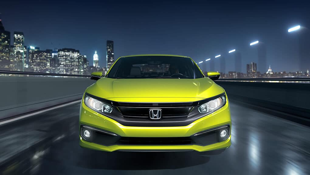 2019 Honda Civic Coupe Yellow Front View