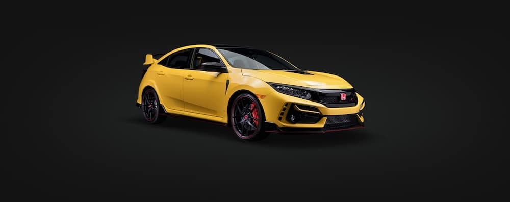 Yellow 2021 Honda Civic Type R future vehicle on black background for preview