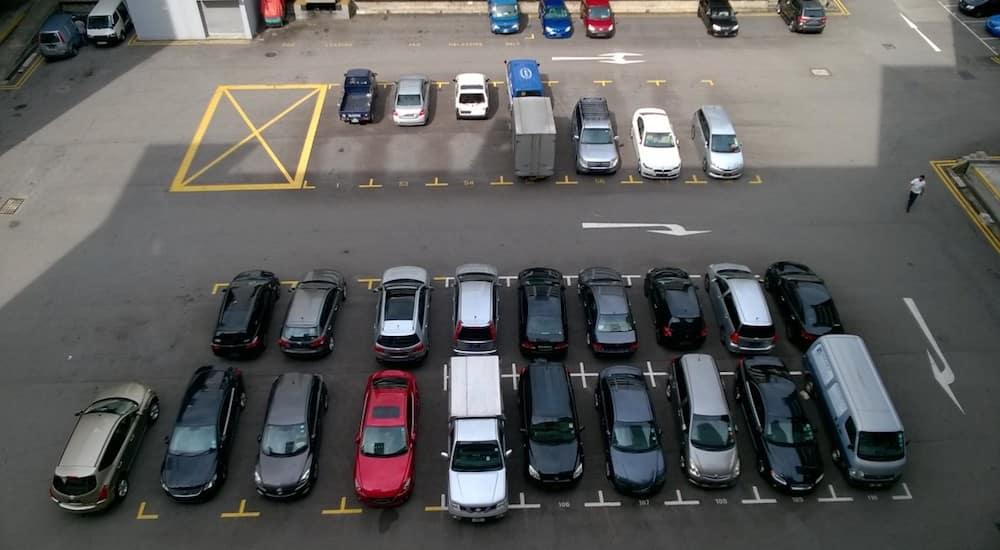 Used cars dealer parking lot