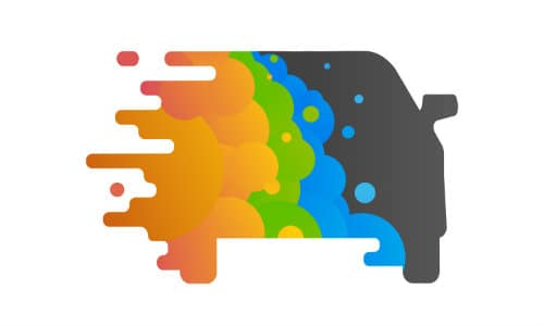 black car cartoon splashes with blue, green, and orange paint