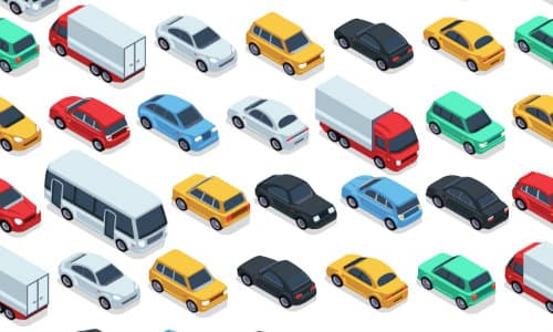 a wallpaper pattern of different colored cars, trucks, vans, buses, and more