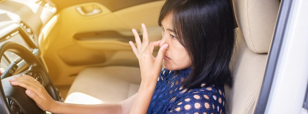 an Asian woman sitting in the drivers seat and plugging the nostrils of her nose because of a bad smell in the vehicle