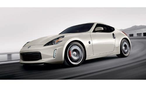 2020 Nissan 370Z exterior shot with white beige paint color in a black and white background