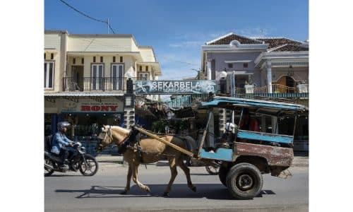 A horse pulling a cart and buggy down the road of a market as a motorcycle driver passes by