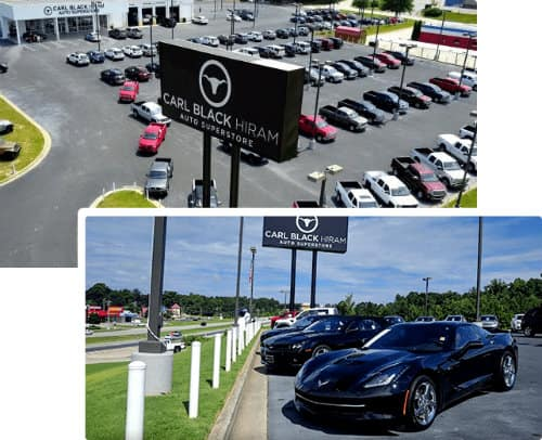 Carl Black Hiram dealership and car lot selection exterior shots