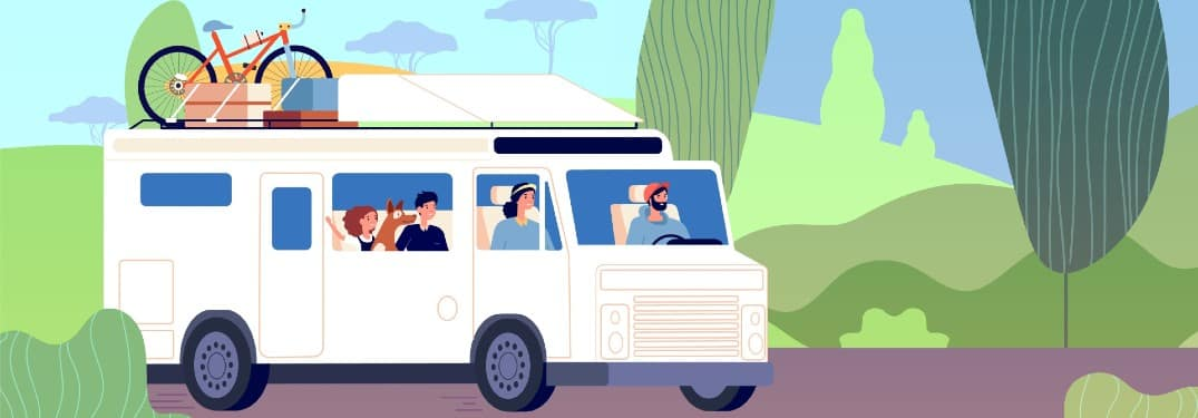 a painting of a family going on a road trip in an RV with bikes and luggage strapped to the top of the vehicle