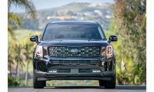 2021 Kia Telluride Nightfall Edition exterior front shot of grille, bumper, and headlights