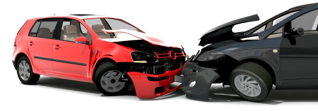 an animation of a red and black car accident head-on collision