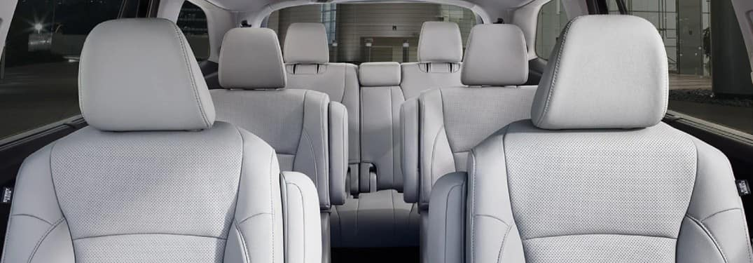 2021 Honda Pilot Elite interior with Gray Leather seating upholstery