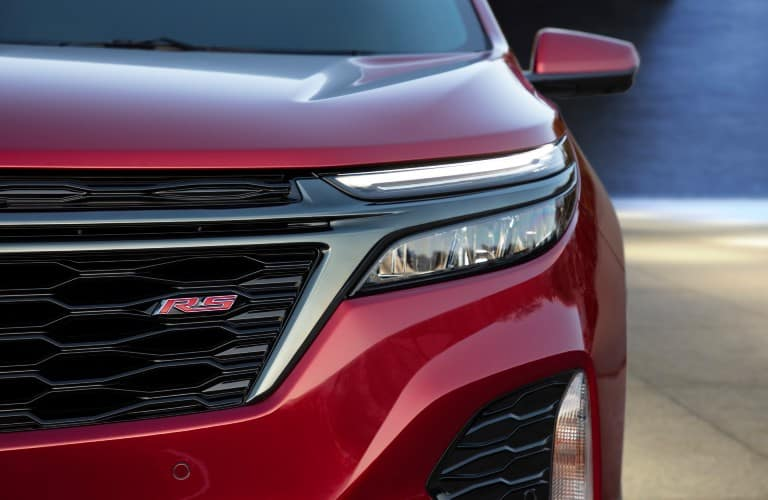2022 Chevy Equinox RS exterior front shot of RS badging, grille, and headlight design