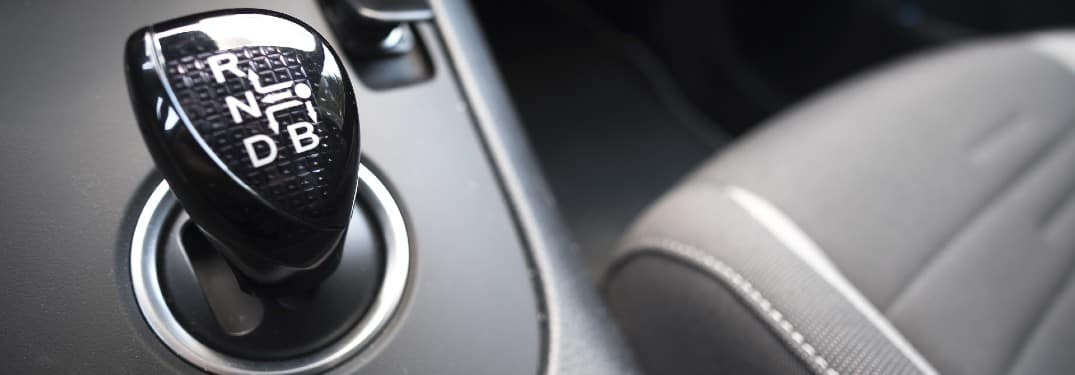 a CVT continuously variable transmission shift knob inside a hybrid vehicle