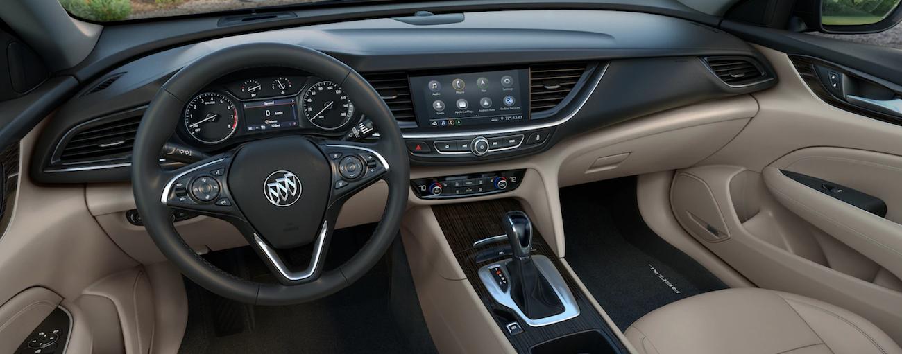 Tan and black 2019 Buick Regal interior
