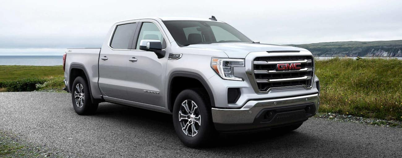 White 2019 GMC Sierra 1500 at beach
