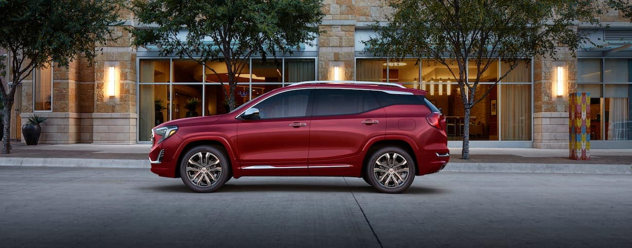 When comparing the 2019 GMC Terrain vs 2019 Mazda CX-5 a red Terrain Denali drives off with the win