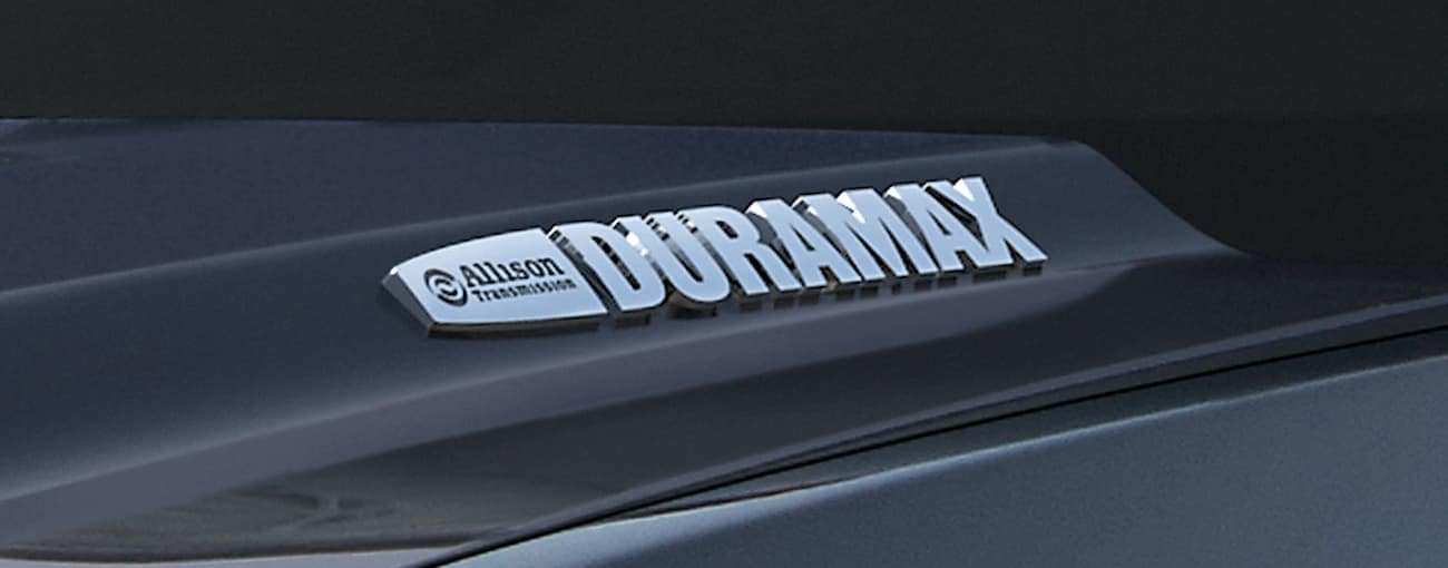 A closeup of the Duramax badging available on a Sierra HD