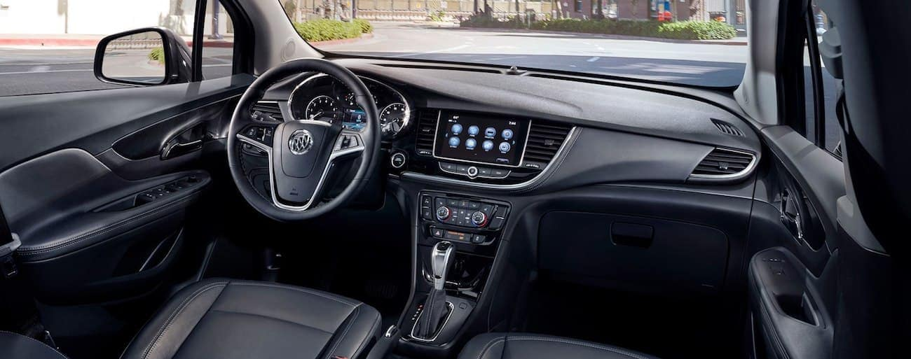 The luxury black leather interior of the 2019 Buick Encore