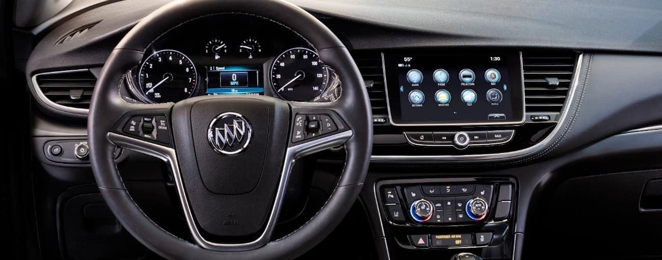 The heavily tech integrated dash of the 2019 Buick Encore