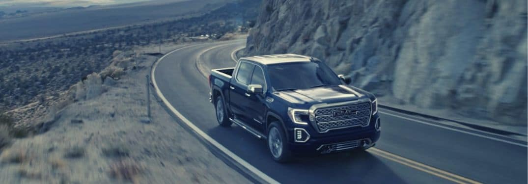 2019 GMC Sierra 1500 driving along mountain highway
