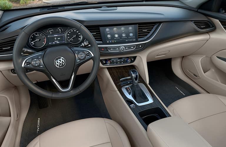 2019 Buick Regal Sportback interior front cabin steering wheel and dashboard